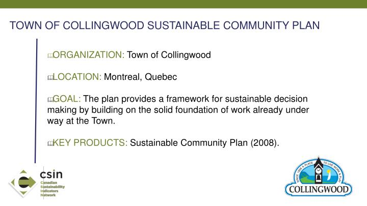 TOWN OF COLLINGWOOD SUSTAINABLE COMMUNITY PLAN