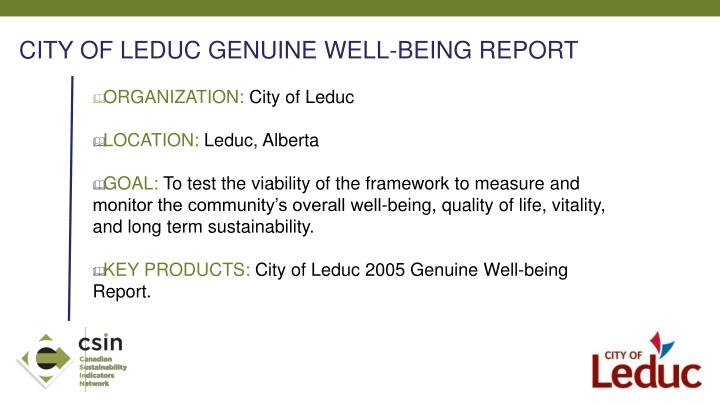 CITY OF LEDUC GENUINE WELL-BEING REPORT