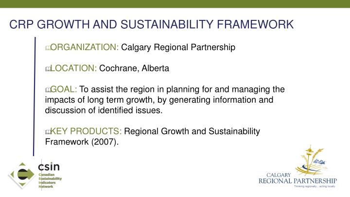 CRP GROWTH AND SUSTAINABILITY FRAMEWORK