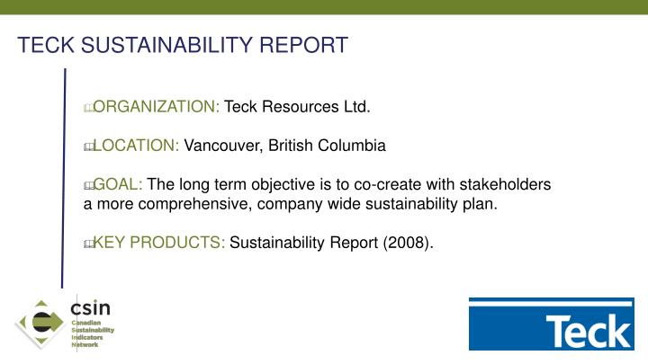TECK SUSTAINABILITY REPORT