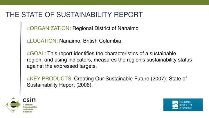 THE STATE OF SUSTAINABILITY REPORT