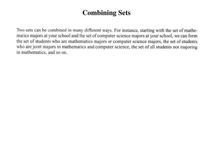 Combining Sets