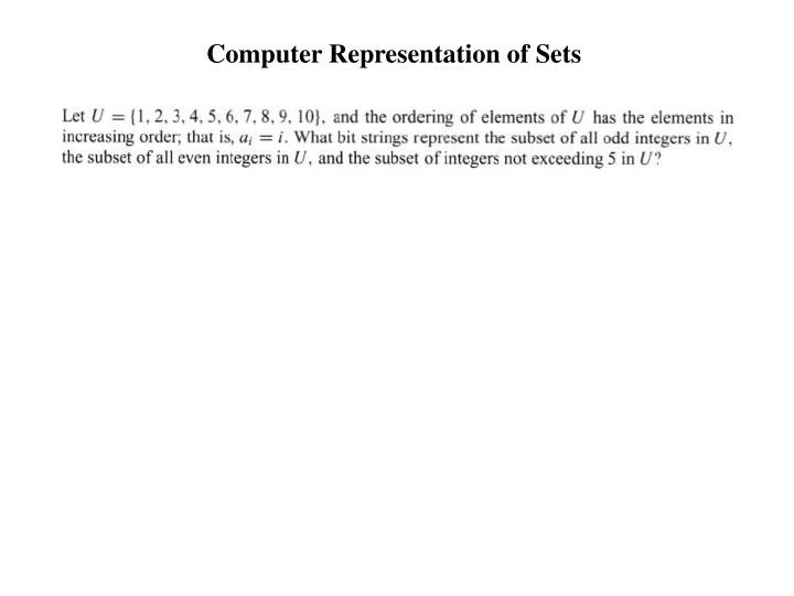 Computer Representation of Sets