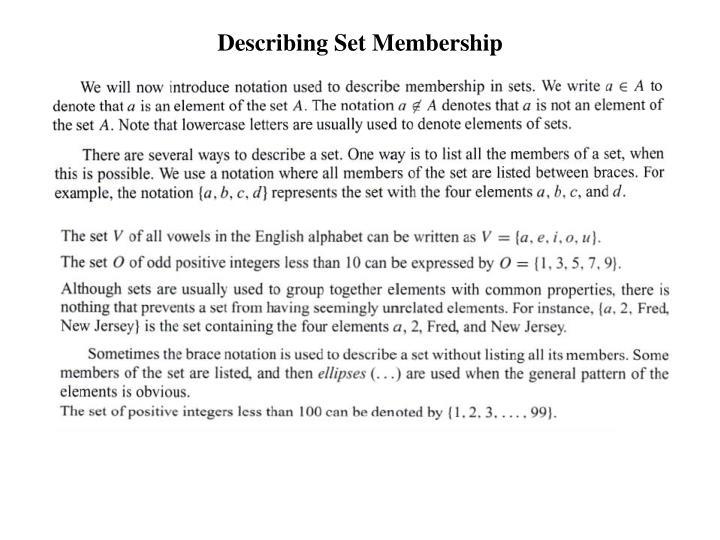 Describing Set Membership
