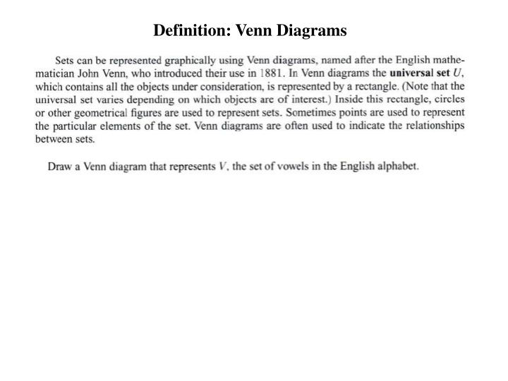 Definition: Venn Diagrams