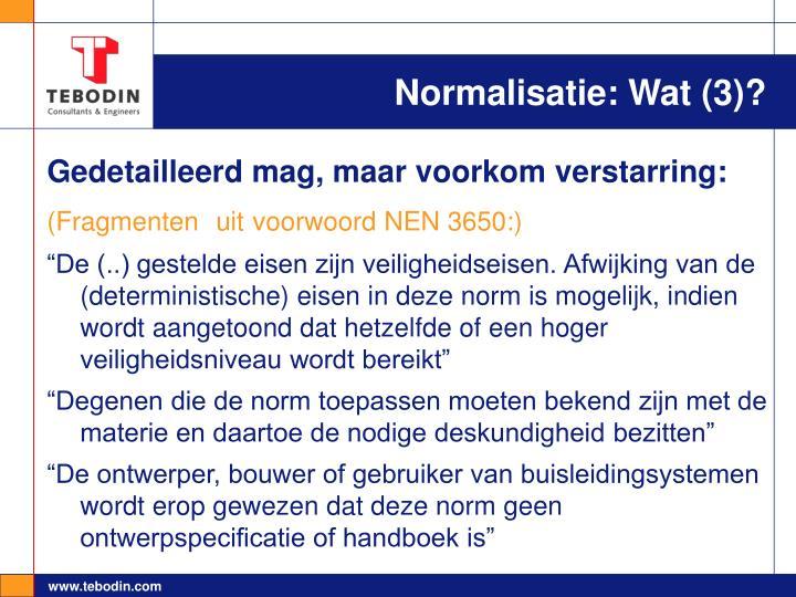 Normalisatie: Wat (3)?