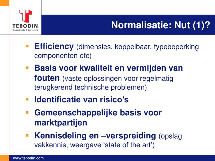 Normalisatie: Nut (1)?