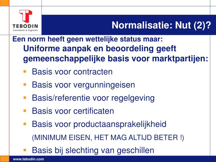Normalisatie: Nut (2)?