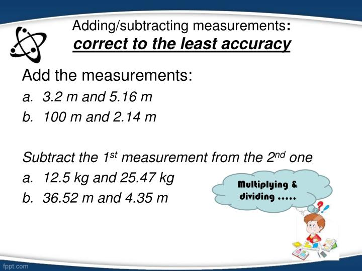 Adding/subtracting measurements