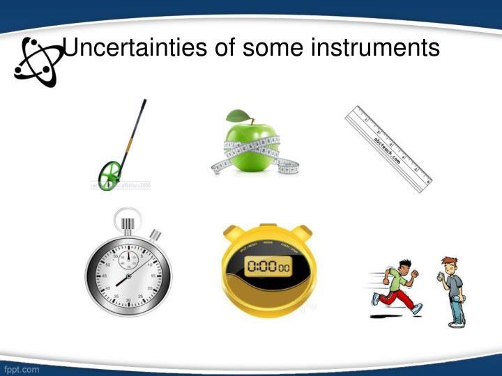 Uncertainties of some instruments