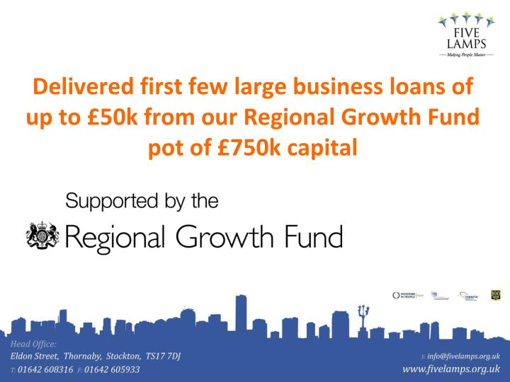 Delivered first few large business loans of up to £50k from our Regional Growth Fund pot of £750k capital