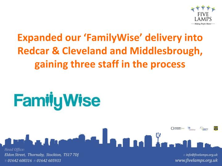 Expanded our 'FamilyWise' delivery into Redcar & Cleveland and Middlesbrough, gaining three staff in the process