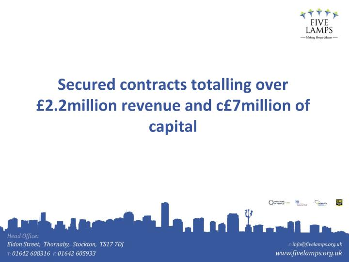 Secured contracts totalling over £2.2million revenue and c£7million of capital
