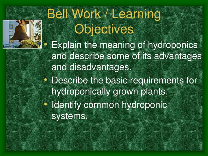 Bell work learning objectives