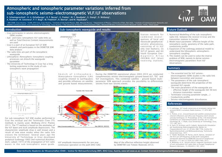 Atmospheric and ionospheric parameter variations inferred from