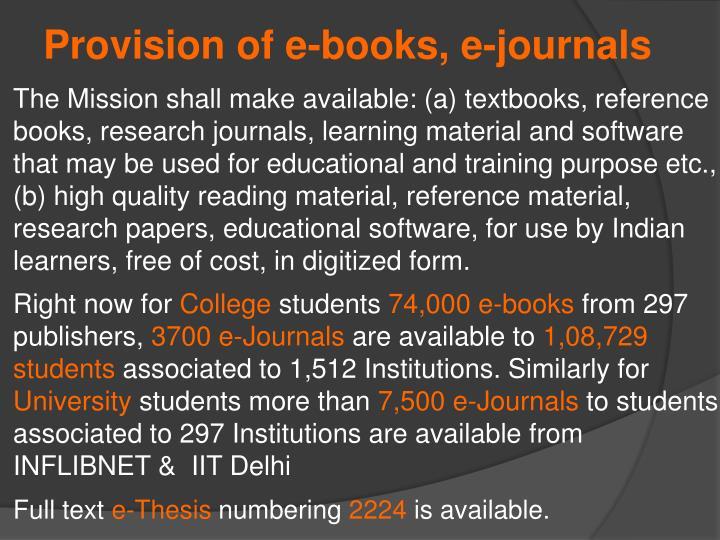 Provision of e-books, e-journals