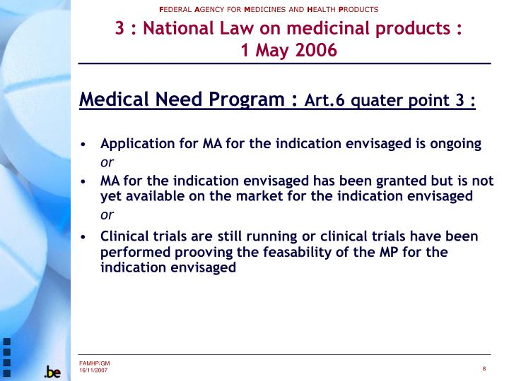 3 : National Law on medicinal products :