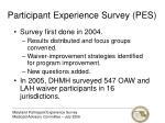 participant experience survey pes1