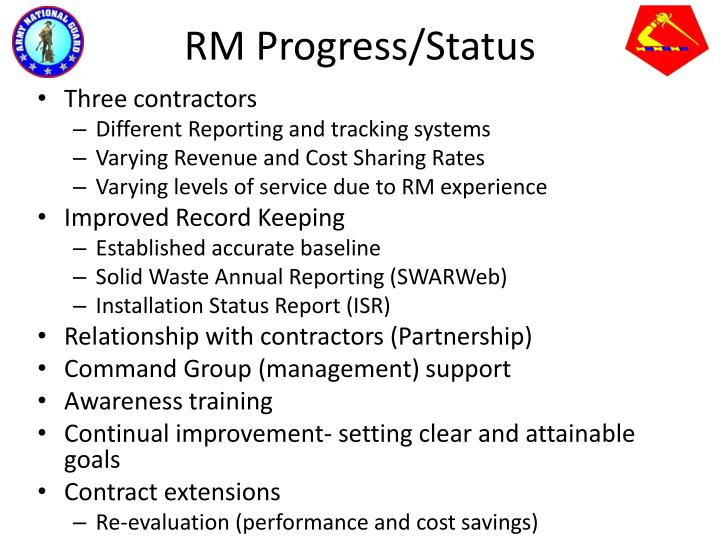 RM Progress/Status