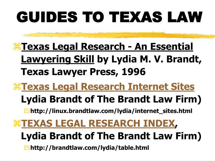 Guides to texas law