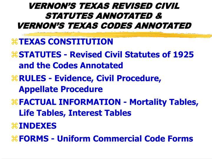 VERNON'S TEXAS REVISED CIVIL STATUTES ANNOTATED &