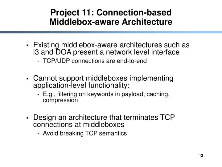 Project 11: Connection-based Middlebox-aware Architecture