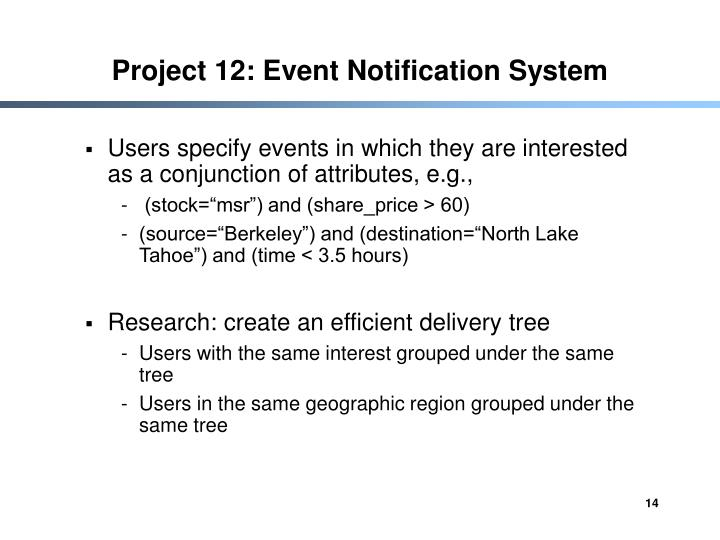 Project 12: Event Notification System