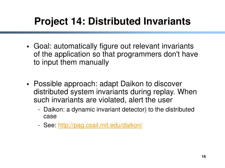 Project 14: Distributed Invariants