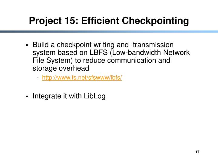 Project 15: Efficient Checkpointing