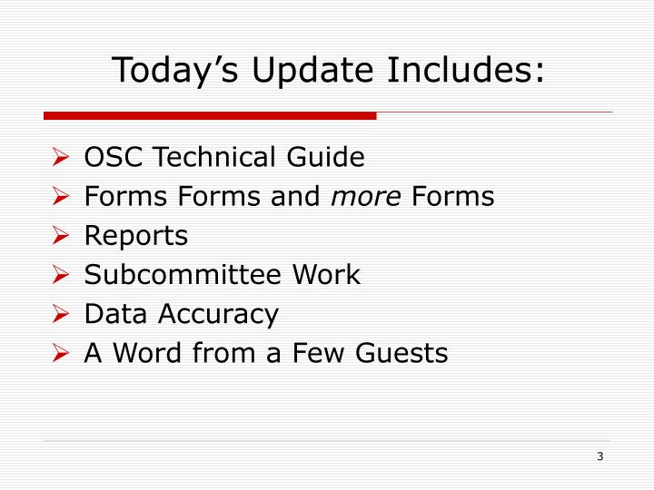 Today s update includes