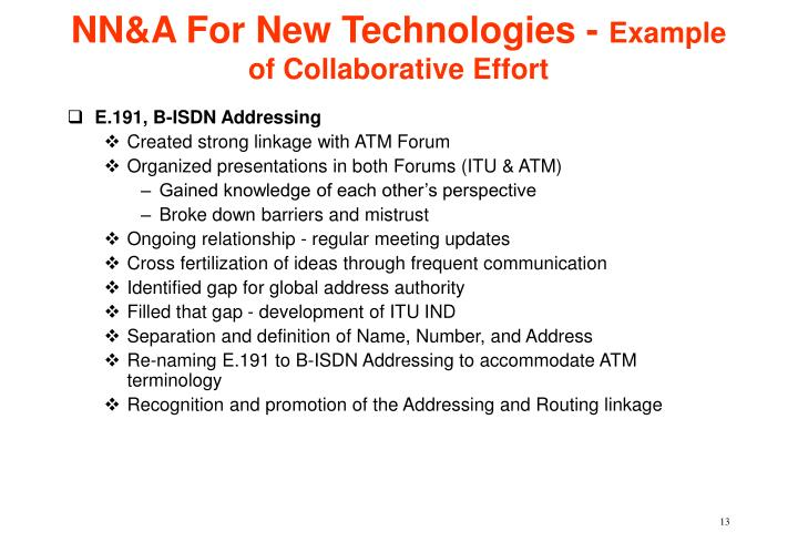 NN&A For New Technologies -