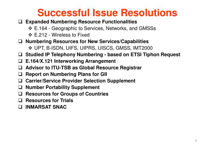 Successful Issue Resolutions