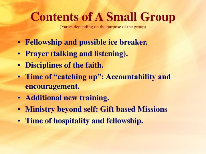 Contents of A Small Group