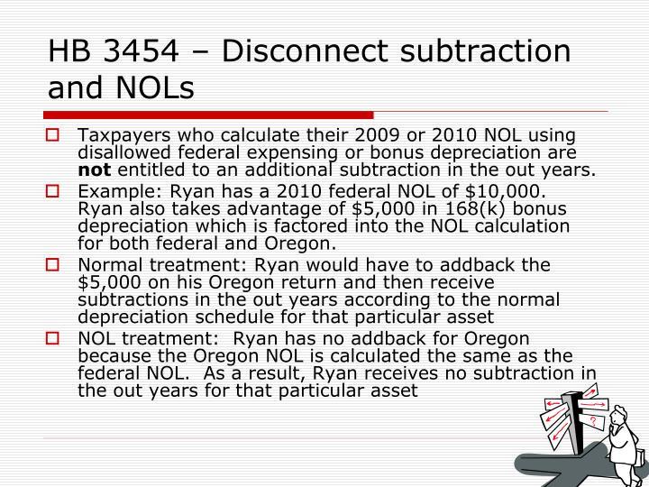 HB 3454 – Disconnect subtraction and NOLs