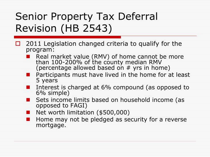 Senior Property Tax Deferral Revision (HB 2543)