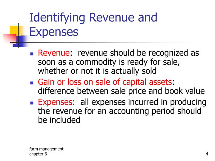 Identifying Revenue and Expenses