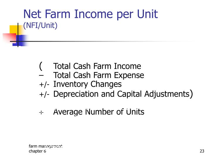 Net Farm Income per Unit