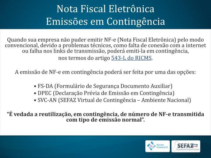 Nota fiscal eletr nica emiss es em conting ncia