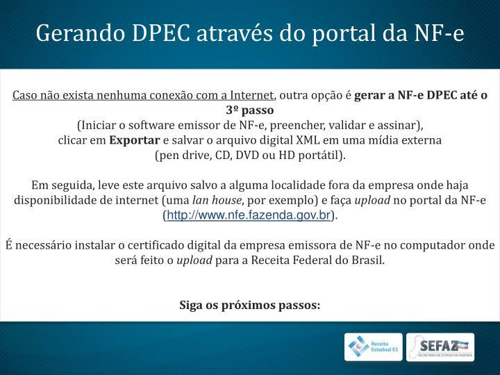 Gerando DPEC através do portal da NF-e