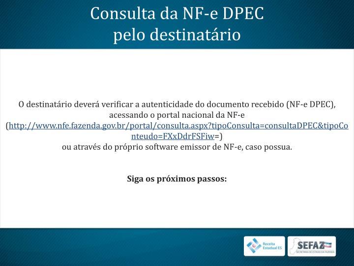 Consulta da NF-e DPEC