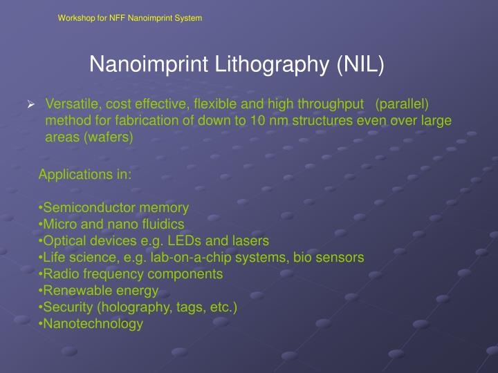 Nanoimprint lithography nil