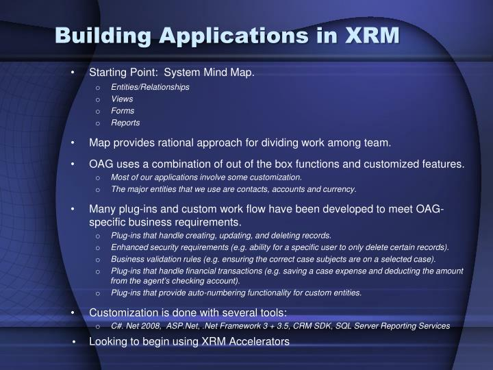Building Applications in XRM