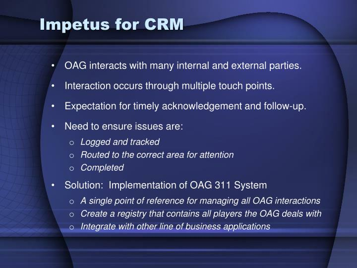 Impetus for CRM