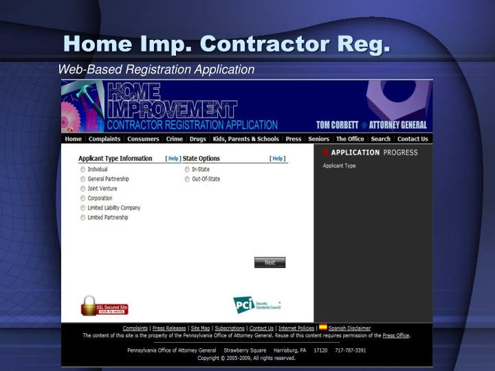 Home Imp. Contractor Reg.