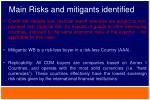 main risks and mitigants identified2