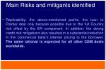 main risks and mitigants identified6