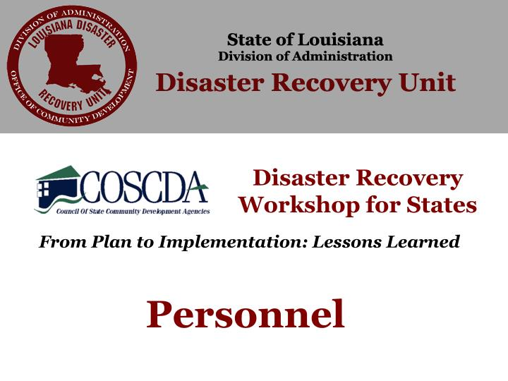 Disaster Recovery Workshop for States