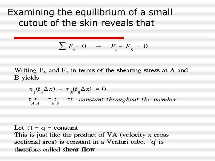 Examining the equilibrium of a small cutout of the skin reveals that