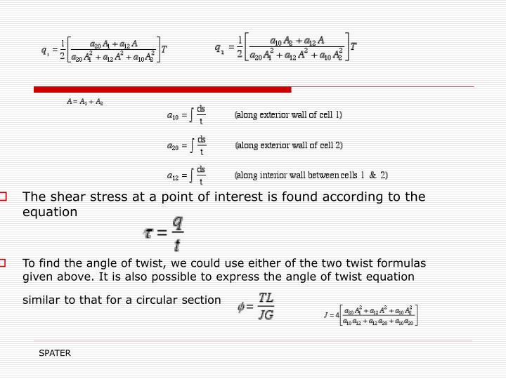 The shear stress at a point of interest is found according to the equation