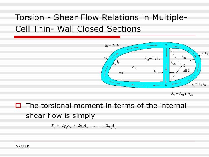 Torsion - Shear Flow Relations in Multiple-Cell Thin- Wall Closed Sections